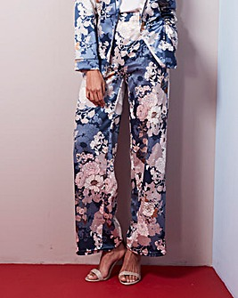 Floral Print Satin Wide Leg Trousers