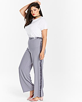 Wide Leg Trouser with Velour Stripe Reg