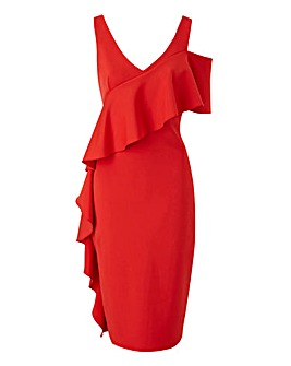 Scuba Bodycon Frill Dress