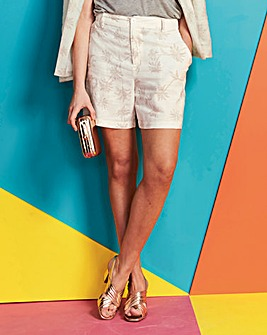 Printed High Waisted Linen Mix Shorts