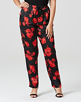Floral Printed Satin Trousers Regular