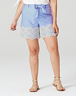 Stripe Embroidered Hem Shorts