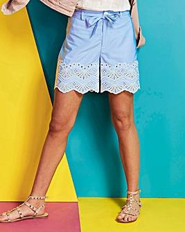 Stripe Embroidered Hem Shorts