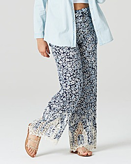 Lace Hem Printed Trousers Regular