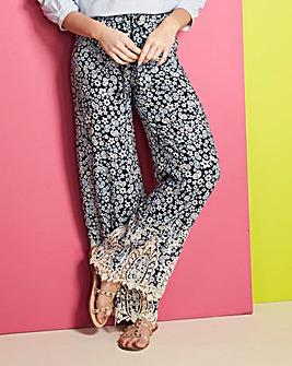Lace Hem Printed Trousers Regular