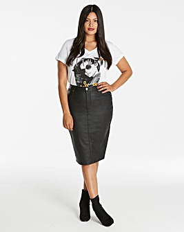 Chloe Stretch Coated Denim Pencil Skirt