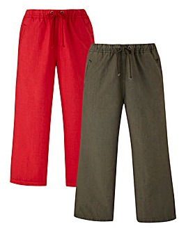 Pack of 2 Woven Crop Trouser