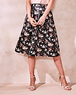 PU Floral Printed Prom Skirt