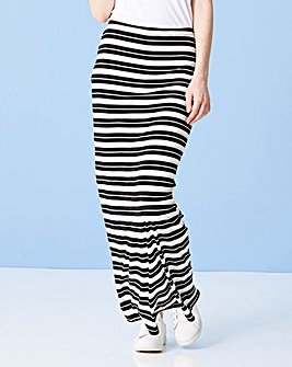 Striped Stretch Jersey Tube Maxi Skirt