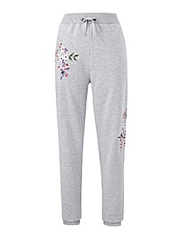 Grey/ Pink Embroidered Jog Pants