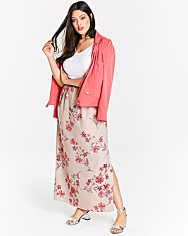 Print Column Maxi Skirt with Side Split