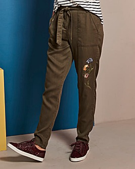 Embroidered Lyocell Tapered Trousers Reg