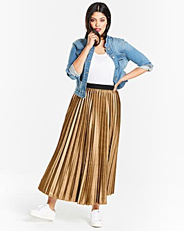 Metallic Sunray Pleat Midi Skirt