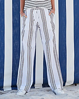 Stripe Linen Mix Straight Trousers Long