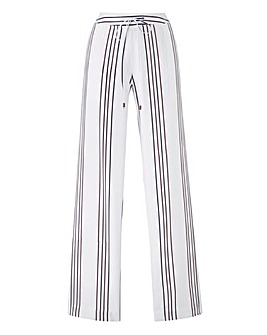 Stripe Linen Mix Straight Trousers Reg