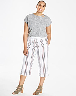 Stripe Linen Mix Crop Trousers