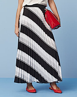 Stripe Sunray Pleat Maxi Skirt