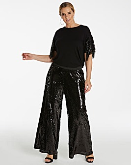 Simply Be Sequin Palazzo Trousers
