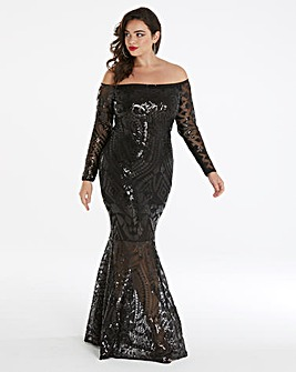 Simply Be by Night Bardot Sequin Maxi