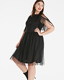 Simply Be Fringed Mesh Dress