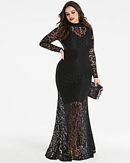 Simply Be by Night High Neck Lace Maxi