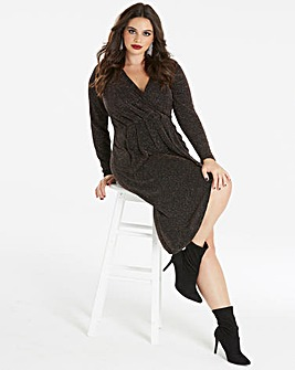 Simply Be by Night Wrap Glitter Dress