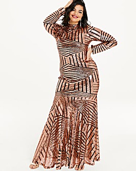 Simply Be by Night Geometric Sequin Maxi