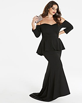 Simply Be by Night Peplum Bardot Maxi