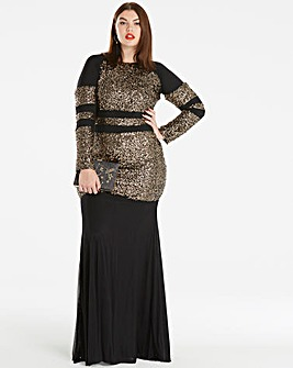 Simply Be Sequin Stripe Fishtail Maxi