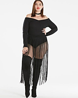 Simply Be Fringe Bardot Bodysuit
