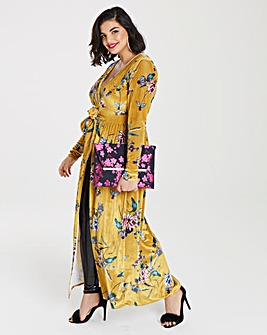 Simply Be Printed Velvet Wrap Dress