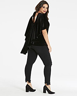 Simply Be Stud Velvet Drape Back Top