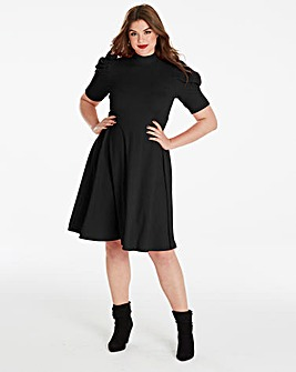 Simply Be Ruched Sleeve Skater Dress