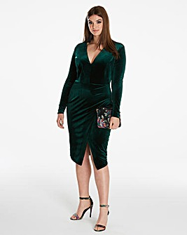 Simply Be By Night Wrap Velour Dress