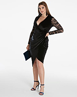 Simply Be By Night Velour Wrap Dresss