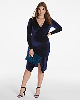 Simply Be By Night Velvet Wrap Dress