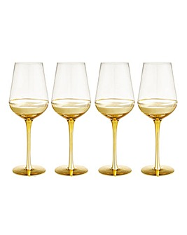 Gold Double Band Wine Glasses Set of 4