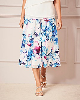 Nightingales Print Chiffon Skirt