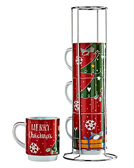 Christmas Tree Stacking Mugs