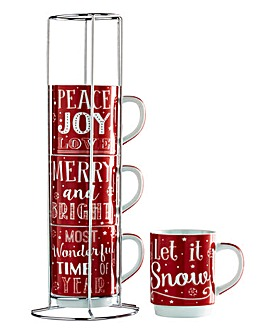 Festive Words Stacking Mugs