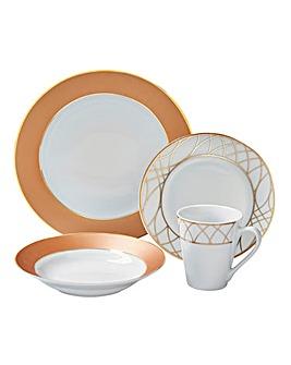 12-Piece Rose Gold Dinner Set