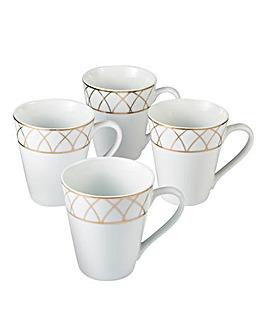 Rose Gold 4-Piece Mug Set