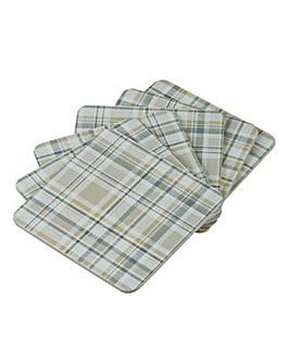 Denby Check Coasters 6 Natural/Grey