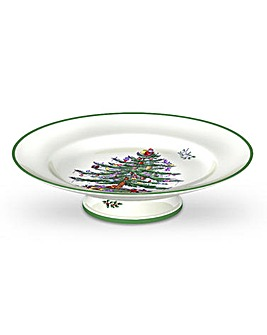 Christmas Tree Footed Cake Plate
