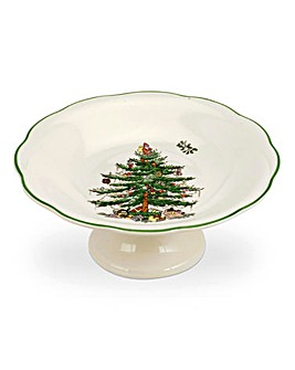Xmas Tree Sculpted Footed Candy Dish
