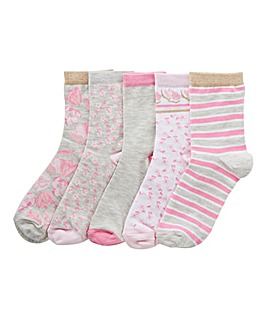 5 Pack Pink/Grey Ankle Socks