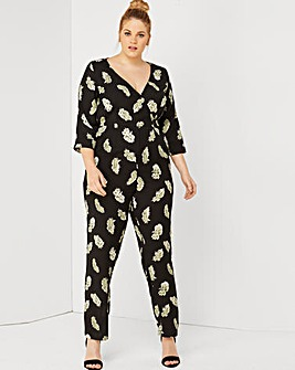 Girls On Film Feather Print Jumpsuit