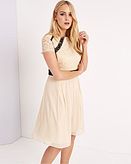 Little Mistress Beige Lace Dress