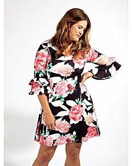 Lovedrobe GB Black Floral Swing Dress