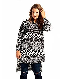 Koko Diamond Print Longline Shirt